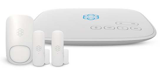 Ooma Home Security with a Telo, 1 motion sensor, and 2 door/window sensors.