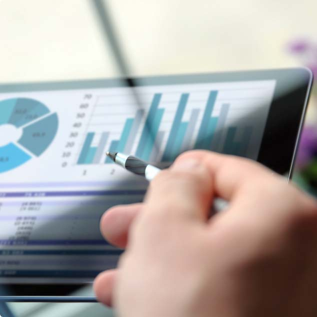 Viewing enterprise sales statistics from a mobile device.
