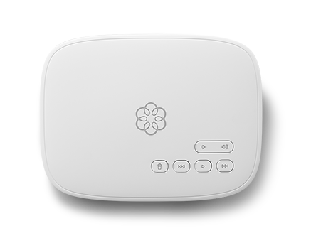 White Telo device used for home security.