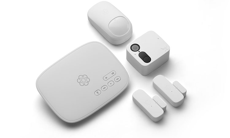 Five pack of white security sensors with smartcam.