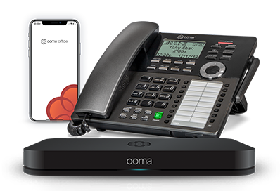 Closeup of Ooma office phones.