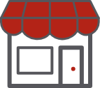 Small business storefront icon with red roof.