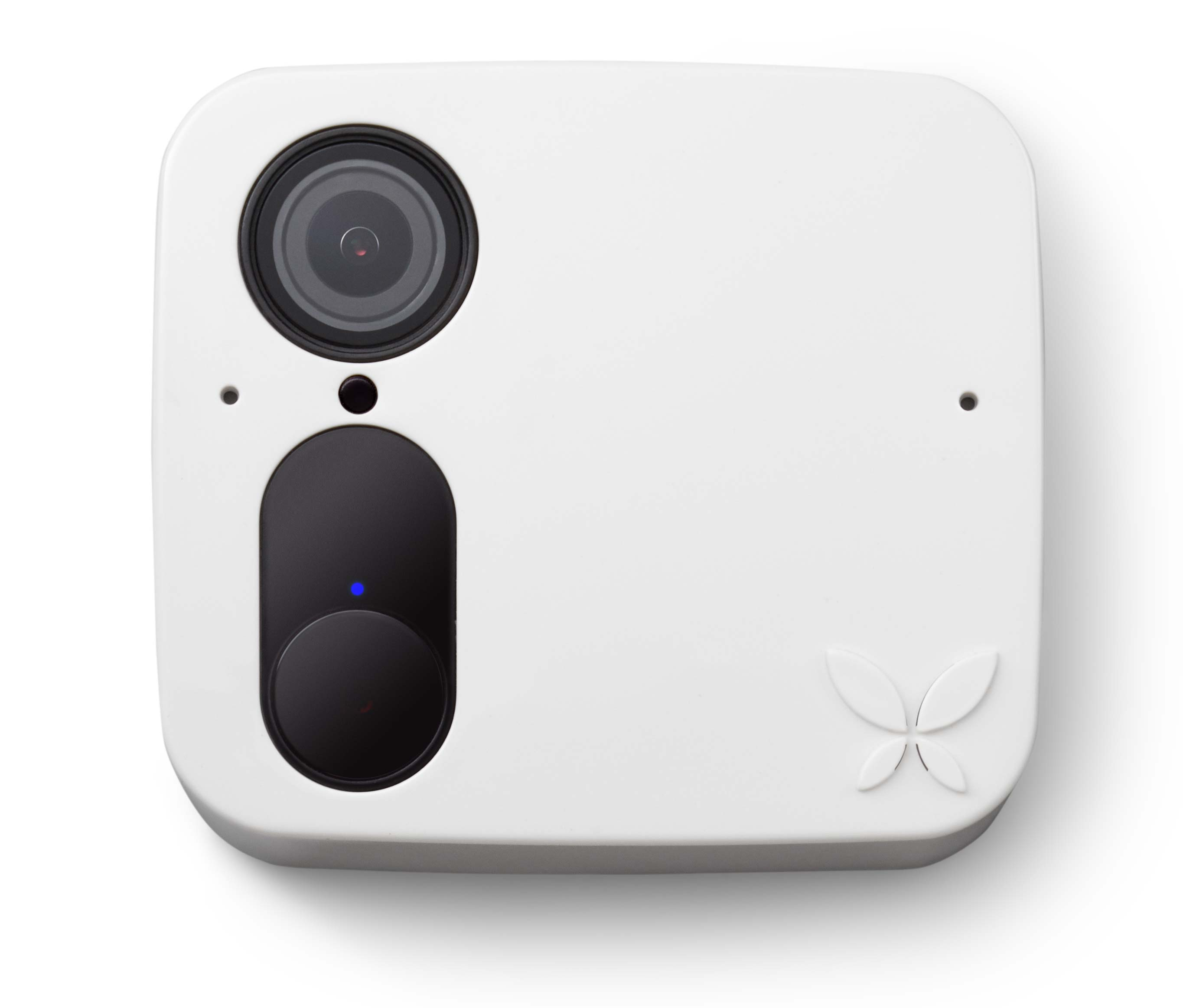 Wireless security camera in white.
