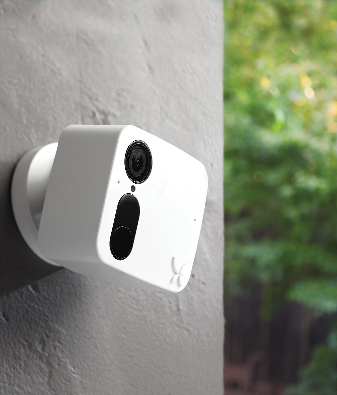 Security camera with no wires, seen outside.