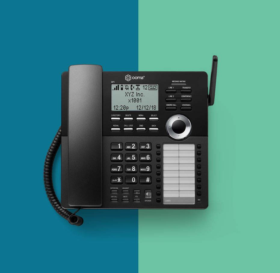 DP-1 desktop home phone against blue and green backdrop.