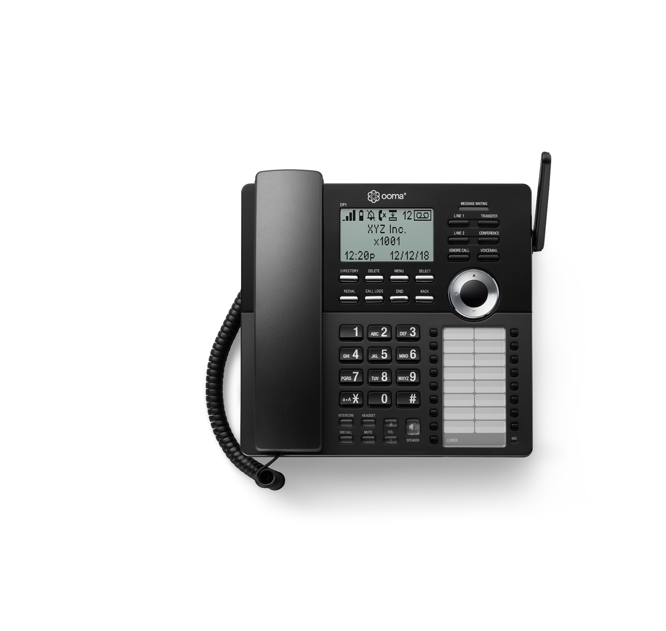 Ooma wireless DP-1 desk phone in black.