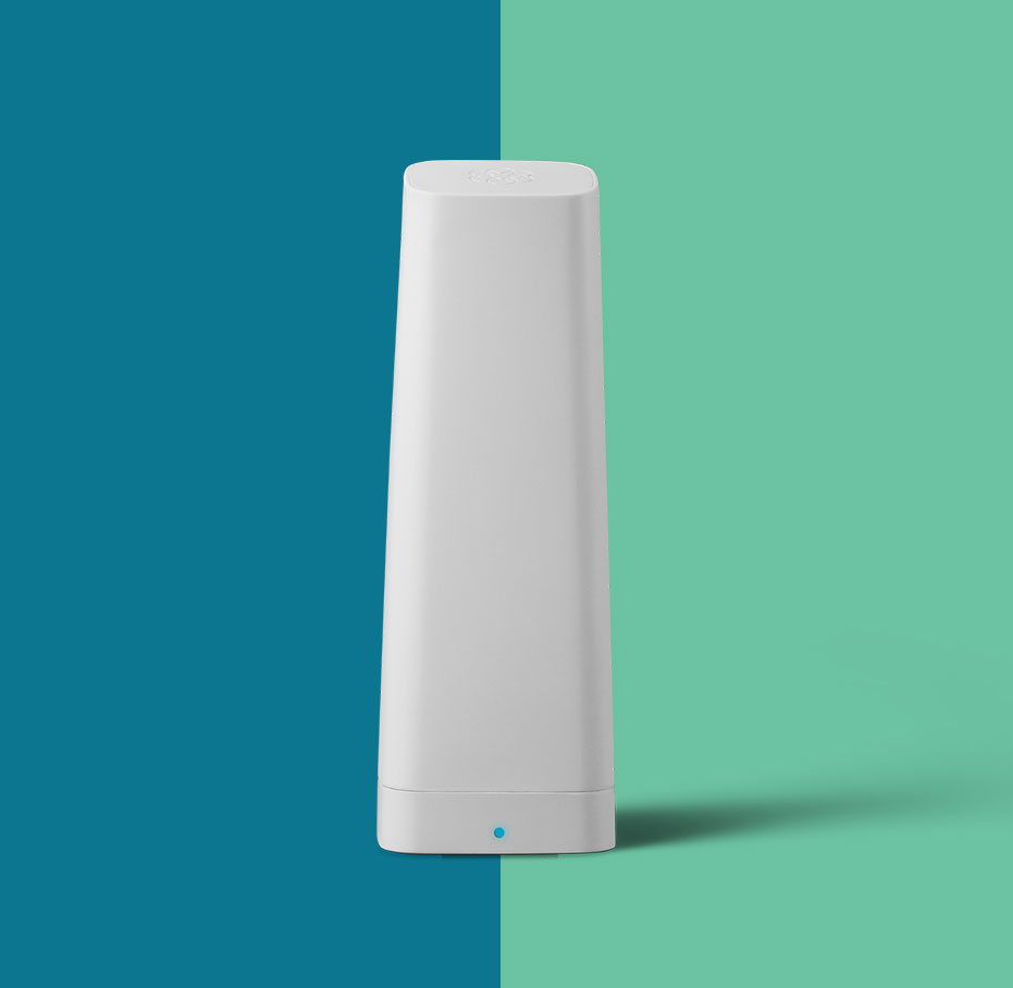 Ooma 4G wireless tower in white.