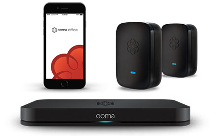 Ooma Office system in black with blue LED.