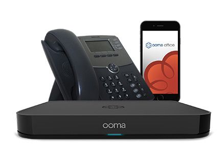 Ooma phone, app and base station.