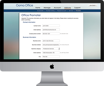 Screen shot of Ooma Promoter for Small Businesses